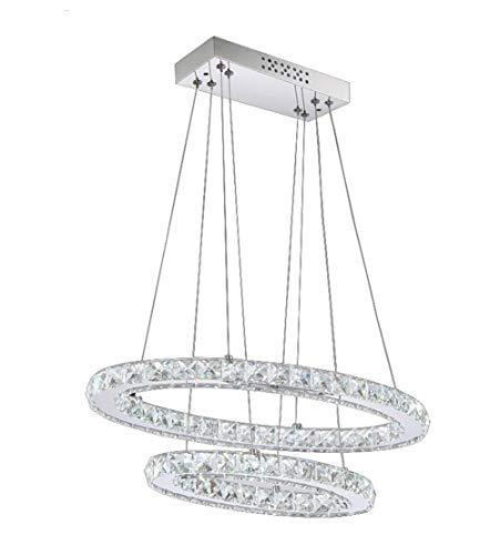CYQAQ Lampadari a Cristallo Moderni Lampadario a Sospensione a LED Ellisse Illuminazione Domestica con 2 Anelli Max 48W Finitura cromata 30 + 50cm,Warm