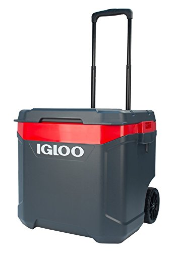Igloo Latitude 60qt Roller Cooler, Jet Carbon/Red Heat