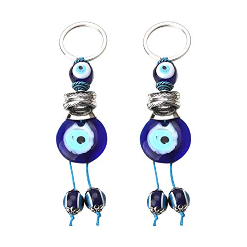 Gadpiparty 2 Piezas Llavero Ojo Azul Ojo Malvado Llavero Azul Hamsa Buena Suerte Amuleto de La Suerte Mano Fátima Protección Llave Titular Encanto para Mujer Niños Bolsa Ornamento