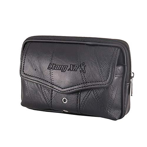 PING hombres de cuero vintage bolsa de la cintura bolsa del teléfono deporte cinturón de la cadera Loop funda de transporte cartera monedero, 1-negro,