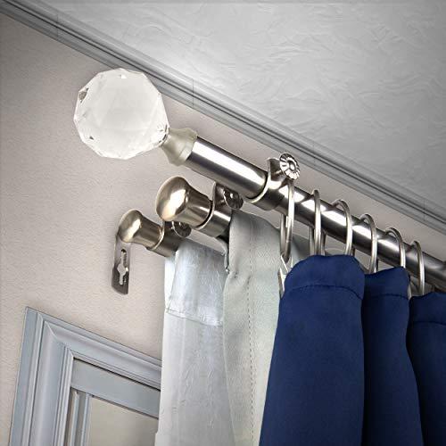 """A&F Rod Décor - Sparkle 13/16"""" Triple Curtain Rod 48-84 inch - Satin Nickel"""