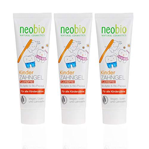 Neobio - Gel de dientes para niños (3 x 50 ml), sin fluorur