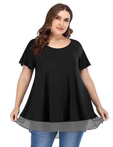 LARACE Women Tunic Tops For Leggings Chiffon T-shirt Plus Size Short Sleeves Flowy Shirt(Black 3X)