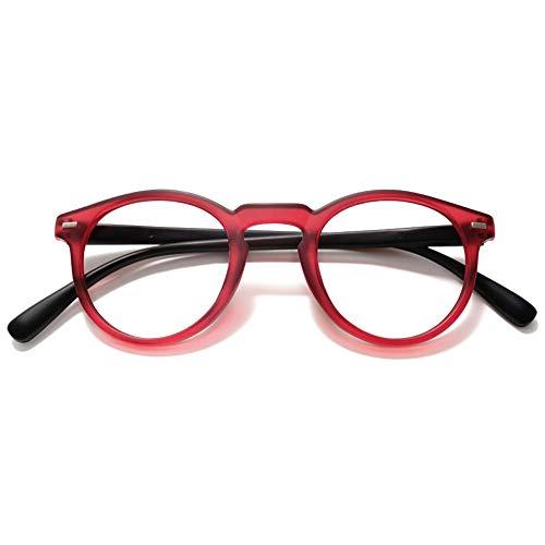VEVESMUNDO Lesebrillen Damen Herren Federscharnier Retro Runde Lesehilfe Sehhilfe Arbeitsplatzbrille Nerdbrille Hornbrille mit Stärke (Rot Rahmen & Schwarz Brillenbügel, 1.5)