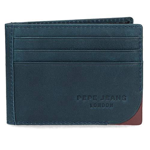 Pepe Jeans Arrow Tarjetero Azul 9,5x7,5 cms Piel