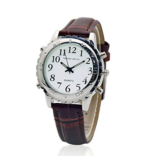 Talking Watch - Orologio da polso al quarzo con voce inglese, cinturino in pelle marrone per donne cieche, persone non vedenti o anziani