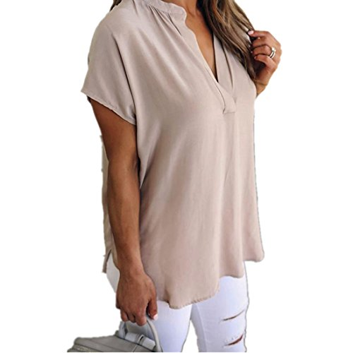 Koly-Damen Tops Blusen eleganter V-Ausschnitt Kurzarm Festliche Chiffon Top Geschäft Sommer Beiläufig Hemden Locker Tunika SweatHemd-Behälter Khaki