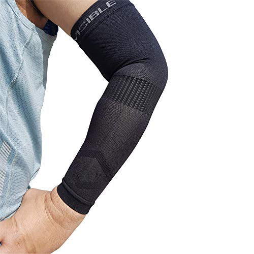 BeVisible Sports Arm Compression Sleeves Arm & Elbow Support for Men Women & Youth - Boosts...
