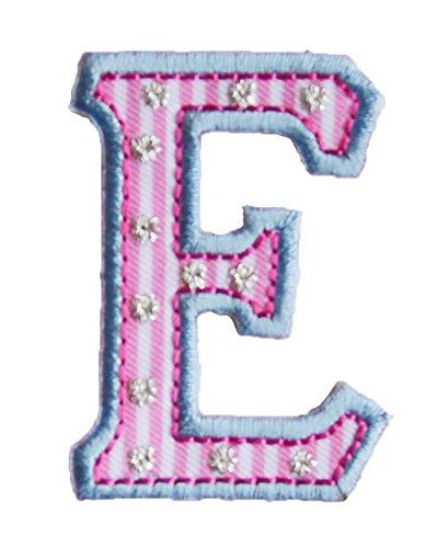 E 5cm hoch rosa blau BuchstabeAufbügler Patch Buchstabe Stoff zum Aufbügeln auf Kleider Kappe Hut Jacke Schal Halstuch Zimmer Taufgeschenk Motive Mädchengeschenk Kurzwaren Künste Kunst Kreativ Kleink