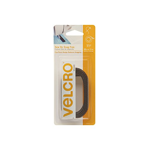 VELCRO Brand For Fabrics | Sew On Snag-Free Tape for Alterations and Hemming | No Ironing or Gluing | Light Duty One-Piece Fabric Fastener | Cut-to-Length Roll, 36 x 3/4 inch, Black