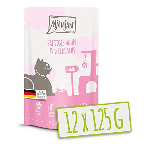 MjAMjAM - Premium Nassfutter für Katzen - saftiges Huhn und wildlachs, 12er Pack (12 x 125 g), getreidefrei mit extra viel Fleisch