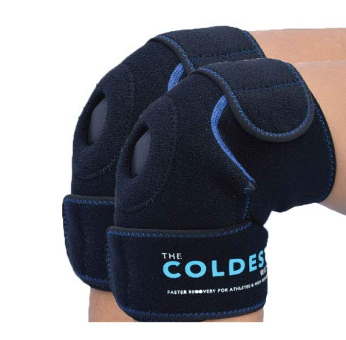 The Coldest Knee Ice Pack Wrap, Hot and Cold Therapy - Reusable Compression Best for Meniscus Tear, Injury Recovery, Bursitis Pain Recovery, Sprains, Swelling (Knee Ice Pack) (2)