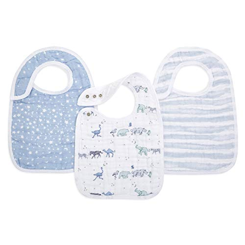 aden + anais Snap Baby Bib, 100% Cotton Muslin, 3 Layer Burp Cloth, Super Soft & Absorbent for Infants, Newborns and Toddlers, Adjustable with Snaps, 3 Pack, Rising Star