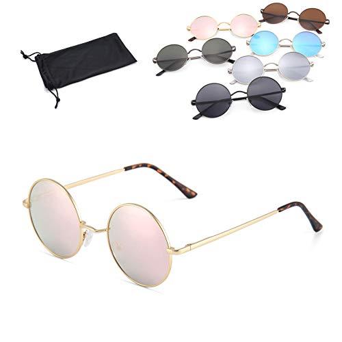 Retro Vintage Sonnenbrille rund verspiegelt mit rundem Metallrahmen Brille für Frauen und Männer (gold - rosa verspiegelt)
