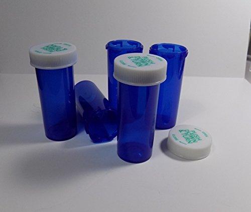 Plastic Prescription Cobalt Blue Vials/Bottles 25 Pack w/Caps Smallest 6 Dram Size-New
