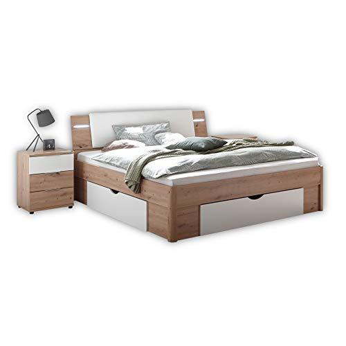Stella Trading FLORIDA Stilvolles Doppelbett 180 x 200 cm mit 2x Nachtkommoden, 3x Bettkästen und LED-Beleuchtung - Bettanlage in Artisan Eiche Optik, Weiß - 276 x 87 x 218 cm (B/H/T)