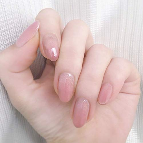 Brishow Künstliche Fingernägel in Sarg-Optik, kurze Kunstnägel, Ballerina, Pink, Glitzer, zum Aufkleben, Acryl, volle Abdeckung, 24 Stück für Frauen und Mädchen