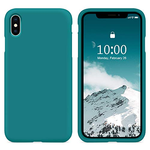 """SURPHY Funda para iPhone X iPhone XS Silicona Case, Carcasa iPhone X iPhone XS Case, Fundas Silicona Líquida Protección con Forro de Microfibra, Compatible con iPhone X iPhone XS 5.8"""",Verde Azulado"""