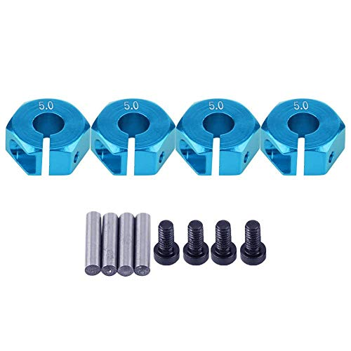 Dilwe Adaptadores de Cubo Hexagonal de Rueda, 12mm Adaptador de Cubo Hexagonal de Rueda Universal para HSP Sakura 1/10 Escala RC Coche(5mm, Azul)