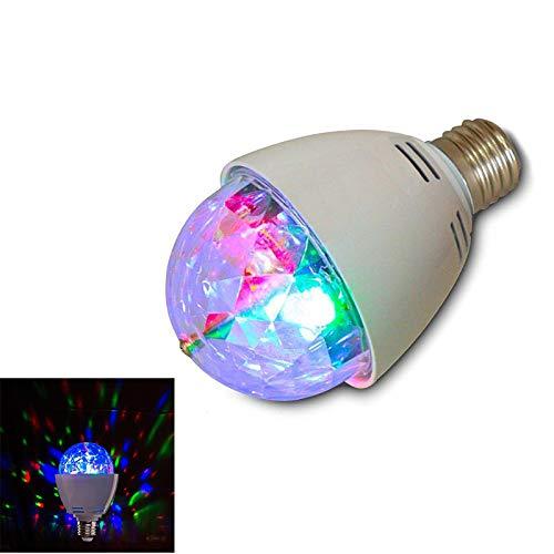 Bombilla LED de luz estroboscópica con efecto de bola de discoteca, giratoria, RGB, 3W, E27, ideal para fiestas, cumpleaños, festivales, decoración de habitaciones