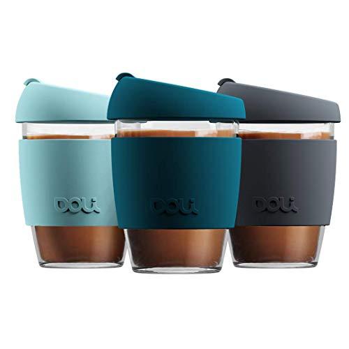 Doli Glas Kaffeebecher to go 340ml I spülmaschinengeeignet und dicht I Kaffee Tee nachhaltig unterwegs I Coffee to go Becher aus Glas I wiederverwendbarer Kaffeebecher Glas (Teal)
