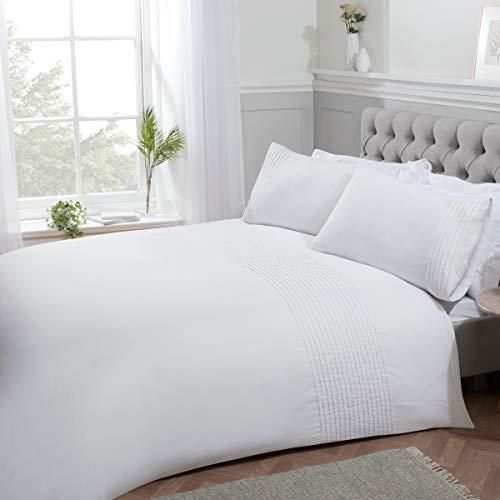 Sleepdown Pintuck veckad randig panel vit lyxig lättskött mjukt mysigt täcke täcke täcke täcke sängkläder set med örngott – kung (220 cm x 230 cm), polybomull