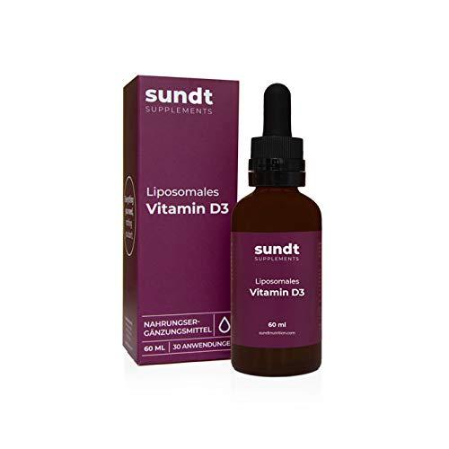 Liposomales Vitamin D3 in Tropfenform für gestärkte Knochen und ein gesundes Immunsystem – 60 ml Flasche – 30 Anwendungen – GMO-frei – MADE IN EU – Sundt Nutrition Nahrungsergänzung