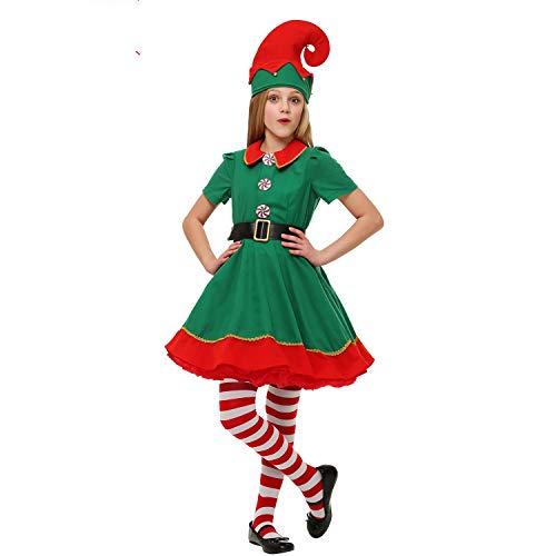 LUOWAN Disfraz de Navidad para Mujer Disfraz de Elfo navideño Disfraz y Sombrero de Elfo navideño (145-155cm)