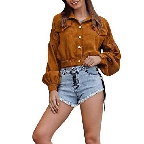 Damen Retro Herbstjacke Button College Jacke Cordmantel Bomberjacke Freizeitmantel Outwear Cardigan URIBAKY