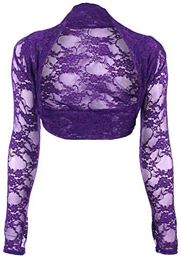 krautwear Bolero de manga larga para mujer, estilo bolero, para boda, fiesta, encaje, negro, blanco, rojo, beige, azul, rosa Purple-s5255-24. Talla única