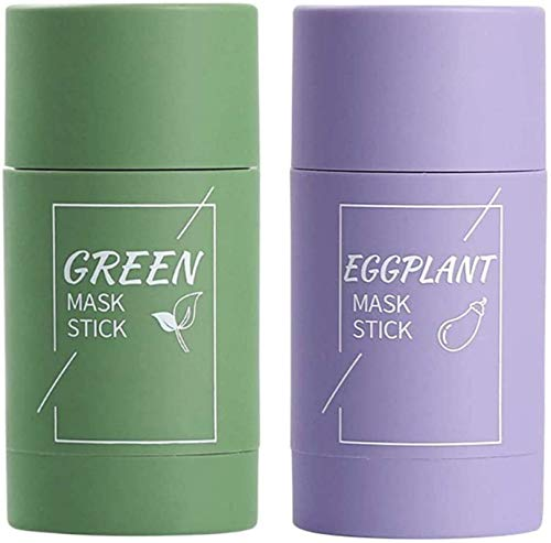 green tea,acne removal,blackhead removal,solid mask,Oil control anti-acne eggplant solid fine,purifying clay stick mask oil control anti-acne,moisturizing hydrating cleansing solid mask,2pcs (C)