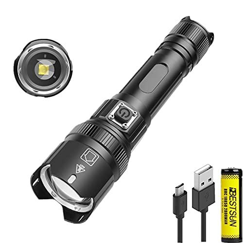 Antorcha LED XHP50 de 7000 lúmenes, antorchas LED XHP50 de alto lúmenes, antorcha táctica recargable con 3 modos, lámpara de mano impermeable con zoom para senderismo, camping, emergencia