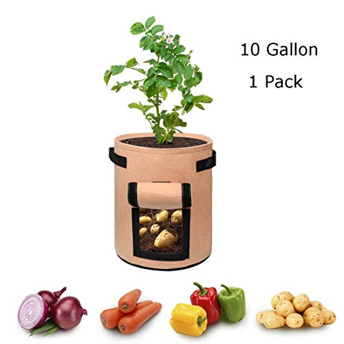 MEILIS Potato Grow Bags Garden Planting Grow Bags with Handles and Large Harvest Window Thickened Vegetables Growing Bags Reusable 10 Gallon Planter Bag(10 Gallon 1 Pack)