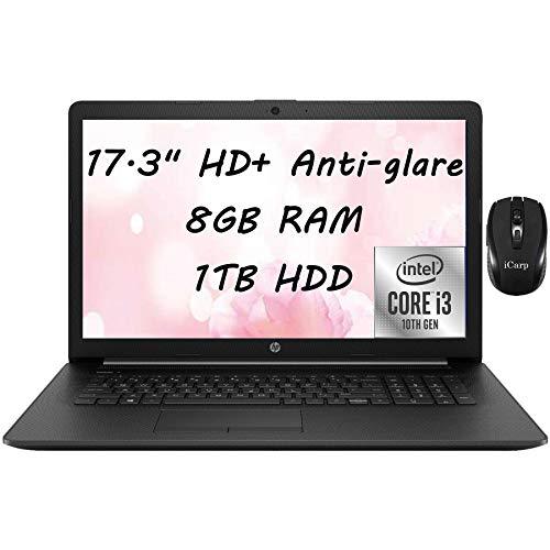 "2021 Flagship HP 17 Laptop Computer 17.3"" HD+ Anti-Glare Display10th Gen Intel Core i3-1005G1 (Beats i5-7200U)8GB RAM 1TB HDD DVD RW WiFi HDMI Webcam Win 10 + iCarp Wireless Mouse"