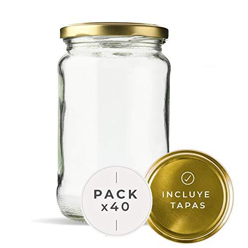 Tarros de Cristal para conservas Pack 40 Unidades de Botes de Cristal...