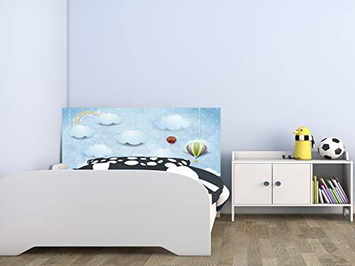 Cabecero Cama Infantil PVC Nubes y Globos 150 x 60 cm | Disponible en Varias Medidas | Cabecero Ligero, Elegante, Resistente y Económico