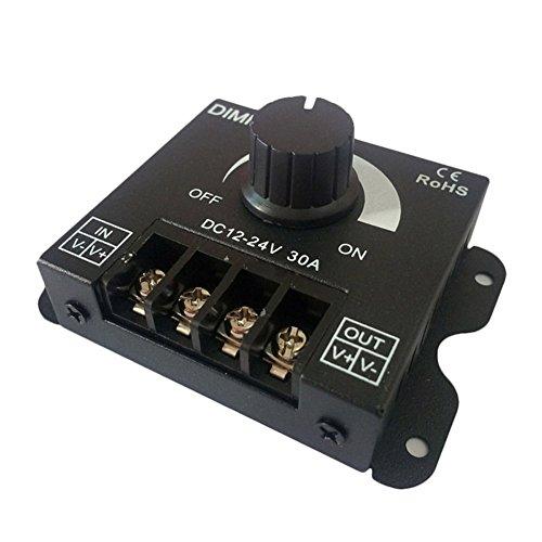 Alftek Dimmer, regolatore dell'intensità della luce, a LED, CC da 12 V - 24 V, 30 A, luminosità regolabile, per regolare lampadine a colore singolo e strisce a LED