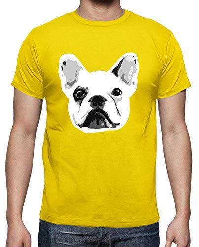 latostadora - Camiseta Bulldog Frances para Hombre Amarillo limón S