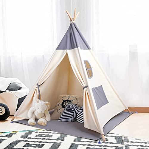 besrey Tipi Enfant Tipi Tente Bébé Intérieur Tente Enfant avec Lumiere Toile de Tente Bébé Pliable Tente de Jeux pour Enfants Grande pour Garçons et Filles