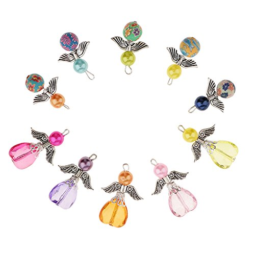 Harilla 10pcs Vintage Angel Wing Charms Jewelry Making Findings Pendants DIY Decors