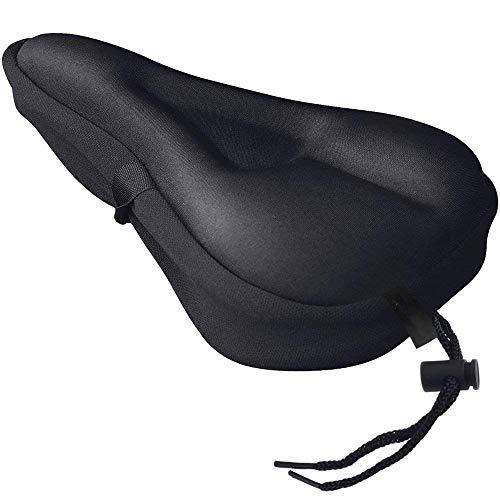 Sattelbezug (27cm x 18cm) Fahrrad Sattel Überzug mit Sicherheitsband - Bequemer Gel Sattelbezug breit für Damenrad, Heimtrainer, E-Bike - Sattelüberzug bequem - Weicher Gel Fahrradsattel