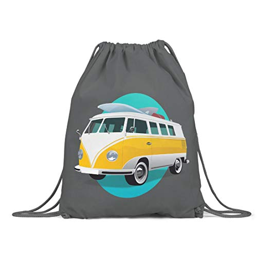 BLAK TEE Good Summer Vibes Van Illustration Organic Cotton Drawstring Gym Bag Grey
