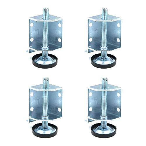 FarBoat Möbelbein-Nivellierer, 5/16 Zoll, verstellbar, rutschfest, strapazierfähig, verstellbar, verzinkt, für Tische, Regale, Ladenschränke, Möbel (7,1 cm Länge), 4 Stück