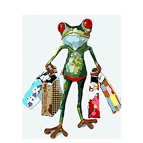 Meecaa Paint by Numbers Frog Kit de regalo para adultos principiantes, pintura al óleo 40,6 x 50,8 cm (rana, enmarcada)