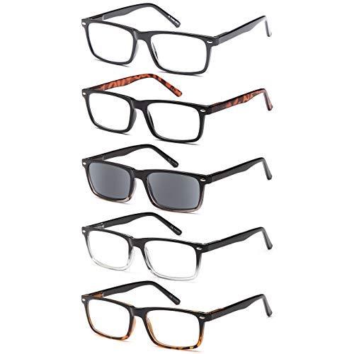 Gamma Ray Men's Reading Glasses - 5 Pairs Readers for Men - w Sun Readers - 1.00