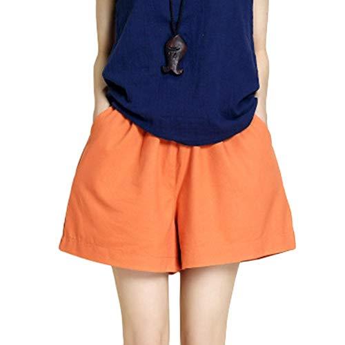 Pantalons Courts Dames Taille Jambe Shorts Élastique Plage Courtes Femmes Spécial Style Freetime Été Maillots De Bain Mode Shorts De Bain Shorts De Plage (Color : Orange, Size : 2XL)