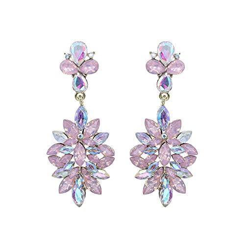 Afrodeti Pendientes de oro con cristal rosa de Bohemia