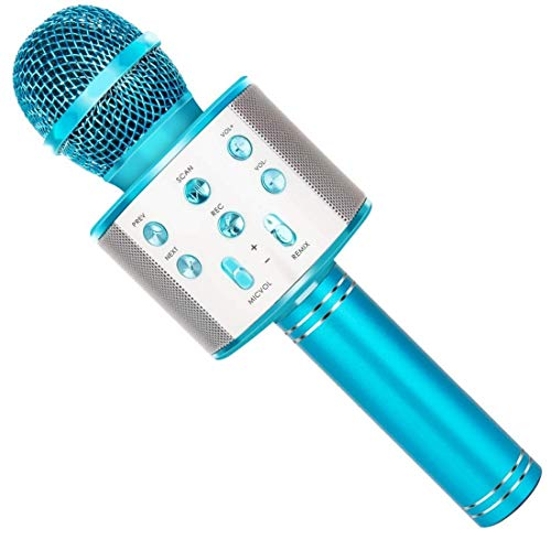 SUNY Wireless Bluetooth Karaoke Microphone with Speaker & Record Function, Best Gift Singing Toy for Kid (Blue)
