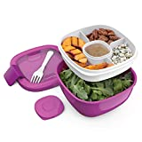 Bentgo Salad - Stackable Lunch Container with Large 54-oz Salad Bowl, 4-Compartment Bento-Style Tray for Toppings, 3-oz Sauce Container for Dressings, Built-In Reusable Fork & BPA-Free (Purple)