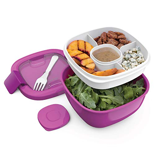 Bentgo Salad BPA-Free Lunch Container with Large 54-oz Salad Bowl, 3-Compartment Bento-Style Tray for Salad Toppings and Snacks, 3-oz Sauce Container for Dressings, and Built-In Reusable Fork (Purple)